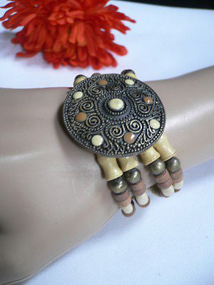 Beige Brown Wood Cream / Brown Bracelet Gold Dots Beads Native Style Fashion New Women Jewelry Accessories - alwaystyle4you - 9