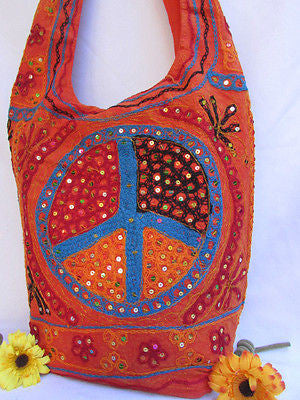 New Women Cross Body Fabric Fashion Messenger Hand Bag Big Peace Sign Black Red Blue - alwaystyle4you - 124