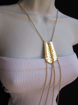 Women La Gold Double Metal Plate Classic Chic Body Chain Jewelry Long Necklace - alwaystyle4you - 12