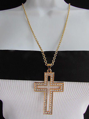 "Gold Metal Chain Big Cross Pendant Silver Rhinestones 15"" Necklace New Women Fashion Accessories"