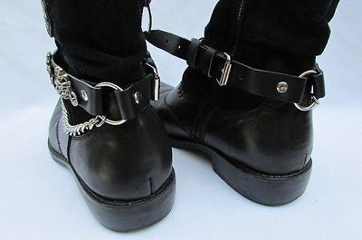 Biker Men Western Women Boot Silver Chain Pair Leather Motorcycle Boot Accessory - alwaystyle4you - 6