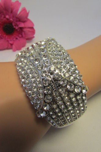 Gold Silver Metal Retro Bracelet Cuff Multi Rhinestones New Women Fashion Jewelry Accessories