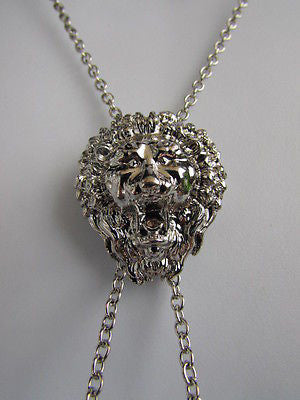 "WOMEN SILVER CHAINS FASHION NECKLACE LION HEAD PENDANT 1""/1"" EXTRA LONG 22"" DROP - alwaystyle4you - 2"