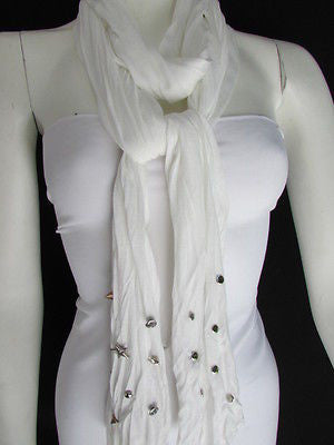 New Women Soft Fabric Fashion White / Blue /  Gray / Black Scarf Long Necklace Silver Metal Stars Studs - alwaystyle4you - 9