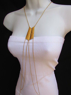 Women La Gold Double Metal Plate Classic Chic Body Chain Jewelry Long Necklace - alwaystyle4you - 1