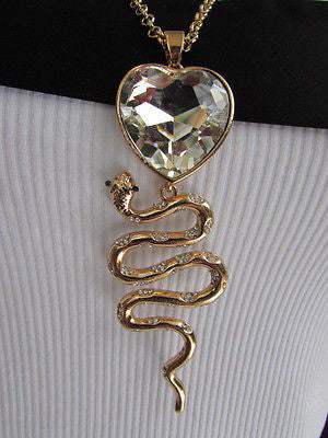 Women Gold Metal Chains Fashion Necklace Big Snake Pendant Heart Rhinestones - alwaystyle4you - 8