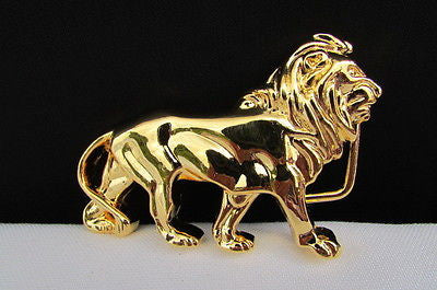 "New Women / Men Belt Buckle Fancy Shiny Gold Metal Fashion Buckle Big Lion Body 3""/2"" For Thin Narrow Belts - alwaystyle4you - 2"