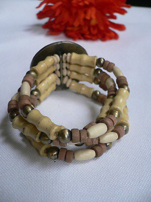 Beige Brown Wood Cream / Brown Bracelet Gold Dots Beads Native Style Fashion New Women Jewelry Accessories - alwaystyle4you - 8