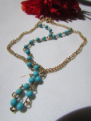 Women Gold Fashion 3 Strands Hand Chains Sky Blue Beads Hand Bracelet Slave Ring - alwaystyle4you - 4