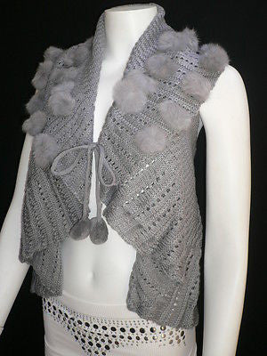 New Women Gray Trendy Knit Shawl Warm Sexy Top Faux Fun Ball Fashion Sweater Size L - alwaystyle4you - 6