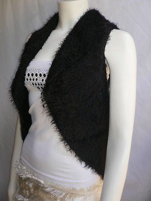 New Women Black Trendy Knit Shawl Warm Top Flowers Sweater Fashion Sleeveless S - alwaystyle4you - 9