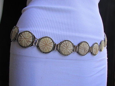 Silver Metal Chains Ivory Circles Shaped Unique Hip Waist Belt New Women Hot Fashion Accessories S - M - alwaystyle4you - 8