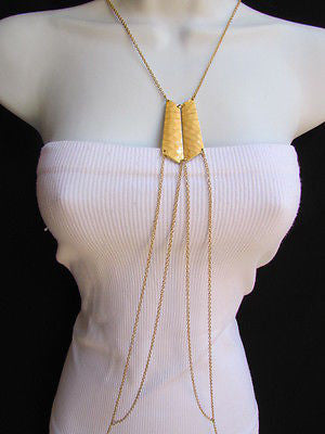 Women La Gold Double Metal Plate Classic Chic Body Chain Jewelry Long Necklace - alwaystyle4you - 10