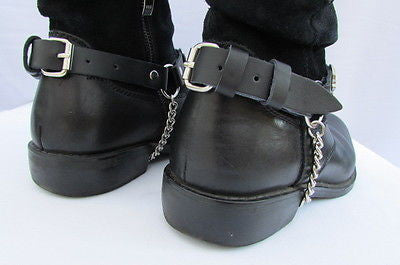 Biker Unisex Boots Silver Chains Pair Leather Straps Metal Skulls New Western Fashion - alwaystyle4you - 6