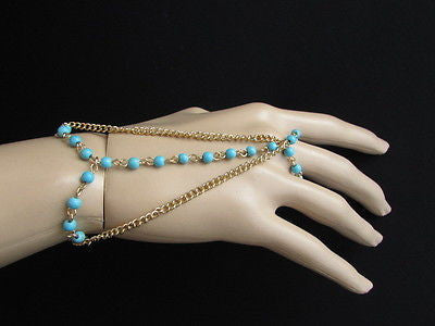 Gold Metal Hand Chains Bracelet Slave Ring 3 Strands Chain Sky Blue Beads New Women Fashion Accessories