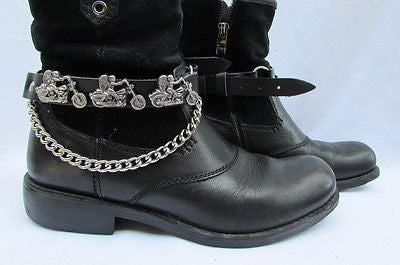 Biker Men Western Women Boot Silver Chain Pair Leather Motorcycle Boot Accessory - alwaystyle4you - 8