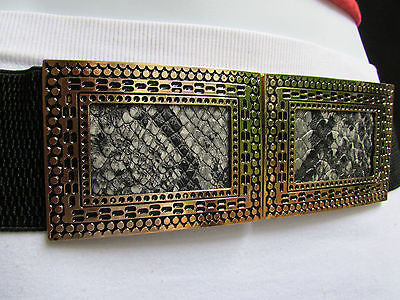 Black / Brown Hip Waist Stretch Belt Snake Print Moroccan Buckle Style Women Fashion Accessories Size S  M - alwaystyle4you - 12