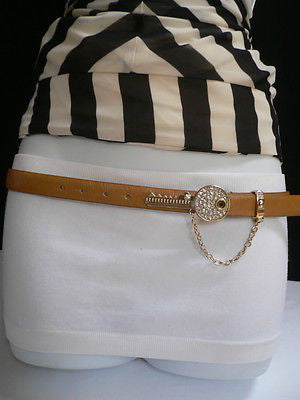 Brown Nude / Blue /  Black / Light Pink Hip Waist Thin Belt Metal Multi Rhinestones Gold Key Buckle New Women Fashion Accessories Medium - alwaystyle4you - 6