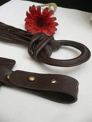 Z NEW CASUAL WOMEN HIP ELASTIC MOCHA BROWN WIDE FASHION BELT CIRCLE BUCKLE S / L - alwaystyle4you - 8