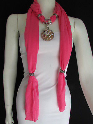 Glass Pendant Pink Soft Fabric Scarf Long Necklace Silver Metal  New Women  Fashion - alwaystyle4you - 8