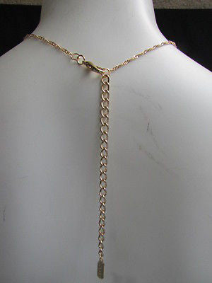 New Women Gold Belt Body Chain Long Necklace White Rhinestnestrand Metal Chains - alwaystyle4you - 6