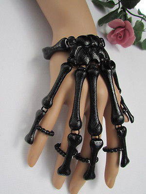 Slave Women Black Multi Fingers Metal Hand Chain Skeleton Fashion Bracelet - alwaystyle4you - 6