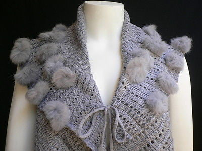 New Women Gray Trendy Knit Shawl Warm Sexy Top Faux Fun Ball Fashion Sweater Size L - alwaystyle4you - 8