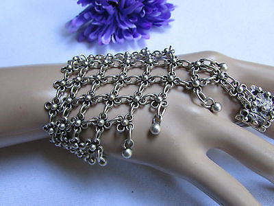 New Women Silver Flower Metal Chains Slave Bracelet Turkish Cuff Ring Hand Made - alwaystyle4you - 8