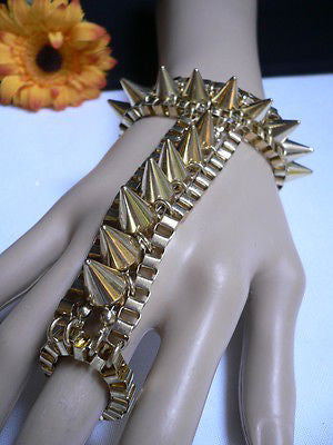 New Women Gold Meatl Hand Links Chain Spikes Slave Bracelet Wrist Ring Connected - alwaystyle4you - 12