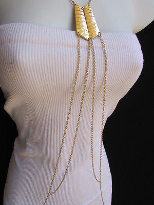 Women La Gold Double Metal Plate Classic Chic Body Chain Jewelry Long Necklace - alwaystyle4you - 4