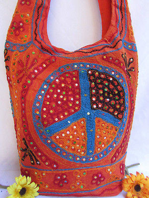 New Women Cross Body Fabric Fashion Messenger Hand Bag Big Peace Sign Black Red Blue - alwaystyle4you - 125
