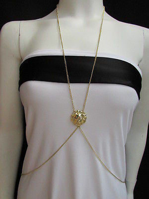 Women Full Body Chain Jewelry Long Necklace Paris Style Gold Metal Lion Head Thin - alwaystyle4you - 9