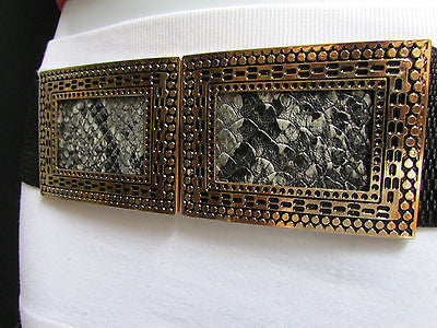 Black / Brown Hip Waist Stretch Belt Snake Print Moroccan Buckle Style Women Fashion Accessories Size S  M - alwaystyle4you - 9
