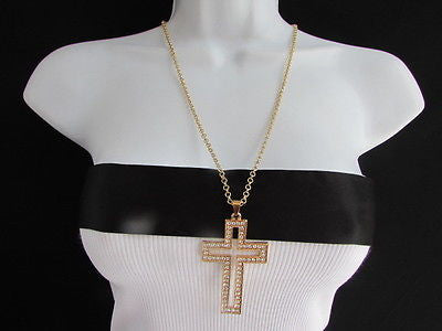 Wester Women Gold Metal Fashion Necklace Big Cross Pendant Silver Rhinestones 15 - alwaystyle4you - 1