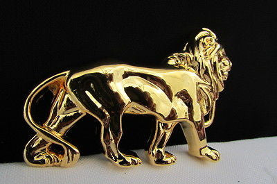 "New Women / Men Belt Buckle Fancy Shiny Gold Metal Fashion Buckle Big Lion Body 3""/2"" For Thin Narrow Belts - alwaystyle4you - 7"