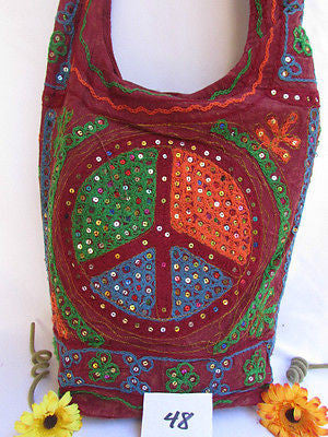 New Women Cross Body Fabric Fashion Messenger Hand Bag Big Peace Sign Black Red Blue - alwaystyle4you - 17