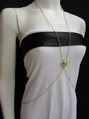 Women Full Body Chain Jewelry Long Necklace Paris Style Gold Metal Lion Head Thin - alwaystyle4you - 3