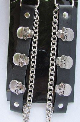 Biker Unisex Boots Silver Chains Pair Leather Straps Metal Skulls New Western Fashion - alwaystyle4you - 7