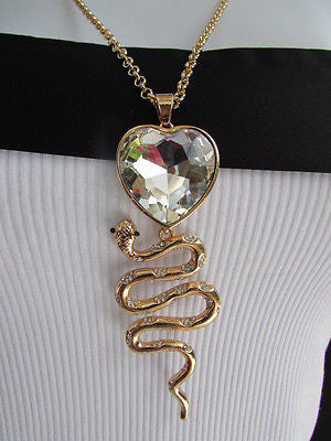 Women Gold Metal Chains Fashion Necklace Big Snake Pendant Heart Rhinestones - alwaystyle4you - 6