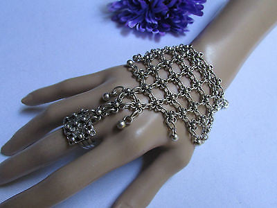 New Women Silver Flower Metal Chains Slave Bracelet Turkish Cuff Ring Hand Made - alwaystyle4you - 7