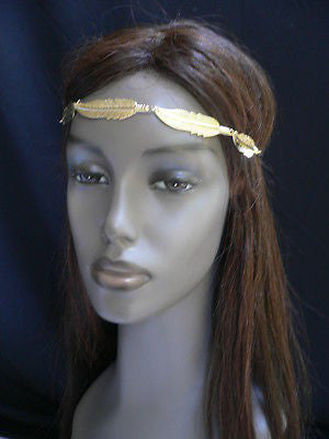 New Women Big Gold Metal Leaf Head Chain Band Fashion Jewelry Grecian Headband - alwaystyle4you - 4