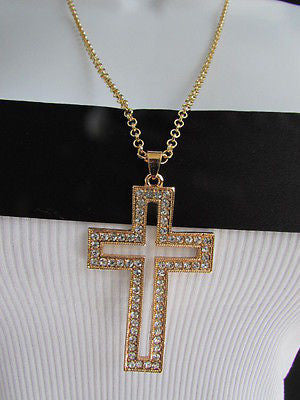 Wester Women Gold Metal Fashion Necklace Big Cross Pendant Silver Rhinestones 15 - alwaystyle4you - 7