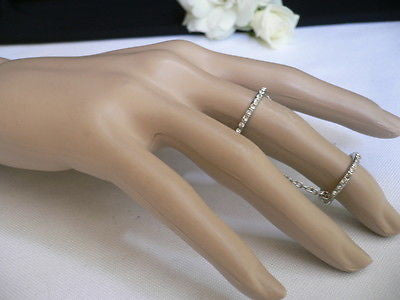 Hot Women Silver Metal Band Elastic Chic Fashion Double Ring Chain Rhinestones - alwaystyle4you - 3