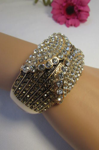 Gold / Silver Metal Retro Bracelet Cuff Multi Rhinestones New Women Fashion Jewelry Accessories - alwaystyle4you - 13