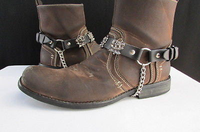 Silver Boot Chain Bracelet Pair Black Leather Straps Rose Flowers New Western Women Men - alwaystyle4you - 4