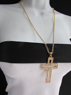 Wester Women Gold Metal Fashion Necklace Big Cross Pendant Silver Rhinestones 15 - alwaystyle4you - 10