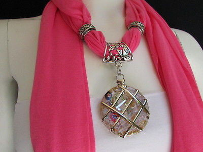 Glass Pendant Pink Soft Fabric Scarf Long Necklace Silver Metal  New Women  Fashion - alwaystyle4you - 10