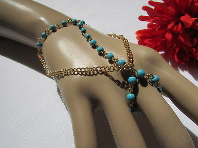 Women Gold Fashion 3 Strands Hand Chains Sky Blue Beads Hand Bracelet Slave Ring - alwaystyle4you - 8