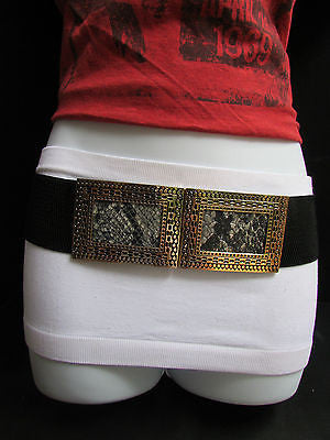 Black / Brown Hip Waist Stretch Belt Snake Print Moroccan Buckle Style Women Fashion Accessories Size S  M - alwaystyle4you - 5