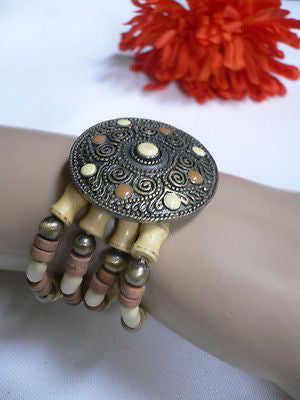 Beige Brown Wood Cream / Brown Bracelet Gold Dots Beads Native Style Fashion New Women Jewelry Accessories - alwaystyle4you - 1
